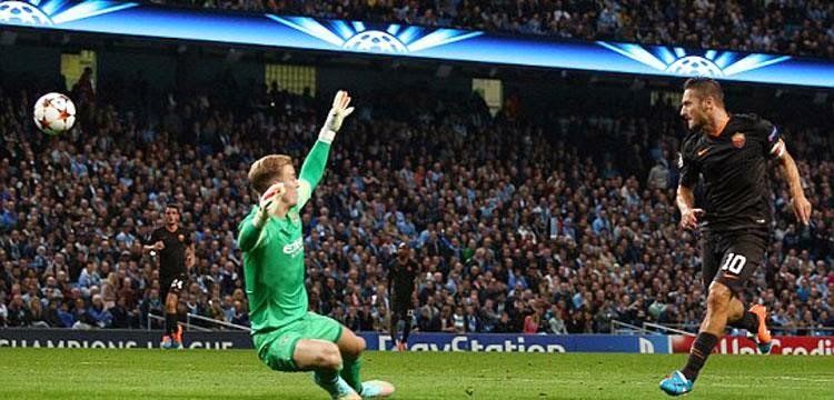 اهداف مباراة مانشستر سيتي 1-1 روما دورى ابطال اوروبا 30\9\2014