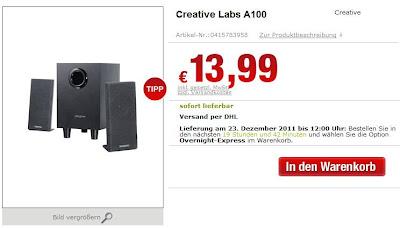 2.1 Lautsprechersystem Creative Labs A100 bei HifiShop24 für 19,98 Euro