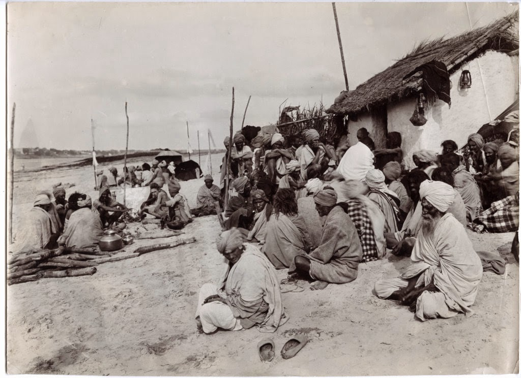 Indian Holy Men Sitting Together - Beares (Varanasi) c1890's