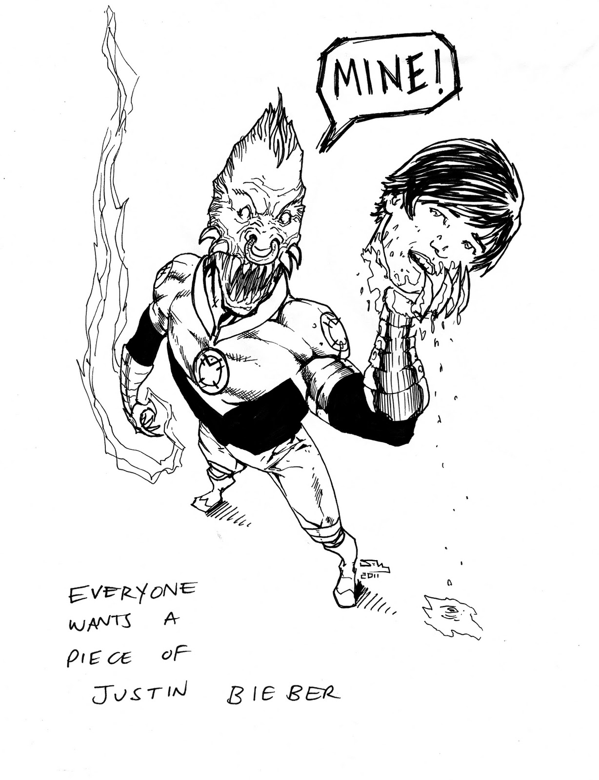 I Don't Know Why Lee Is So Obsessed With The Bieb (he Even Styles His Dreads  Like Bieb Somedays), But Whatever Was Fun To Draw Larfleeze
