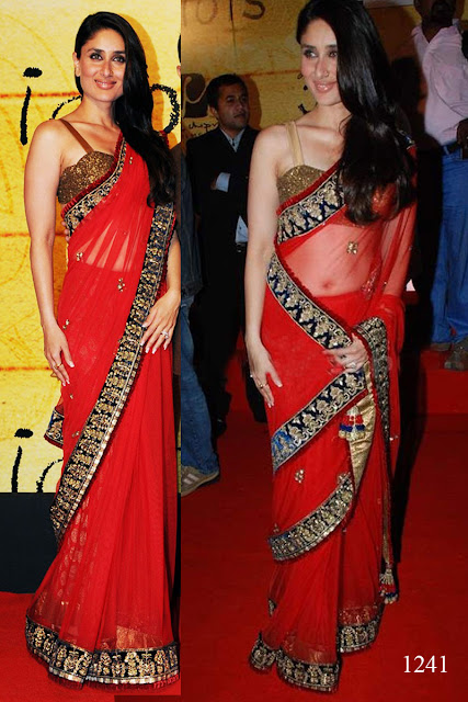 kareena kapoor in hot red saree with blue borders at an award function - 2,Famous Actress Bebo looking pretty in hot red saree