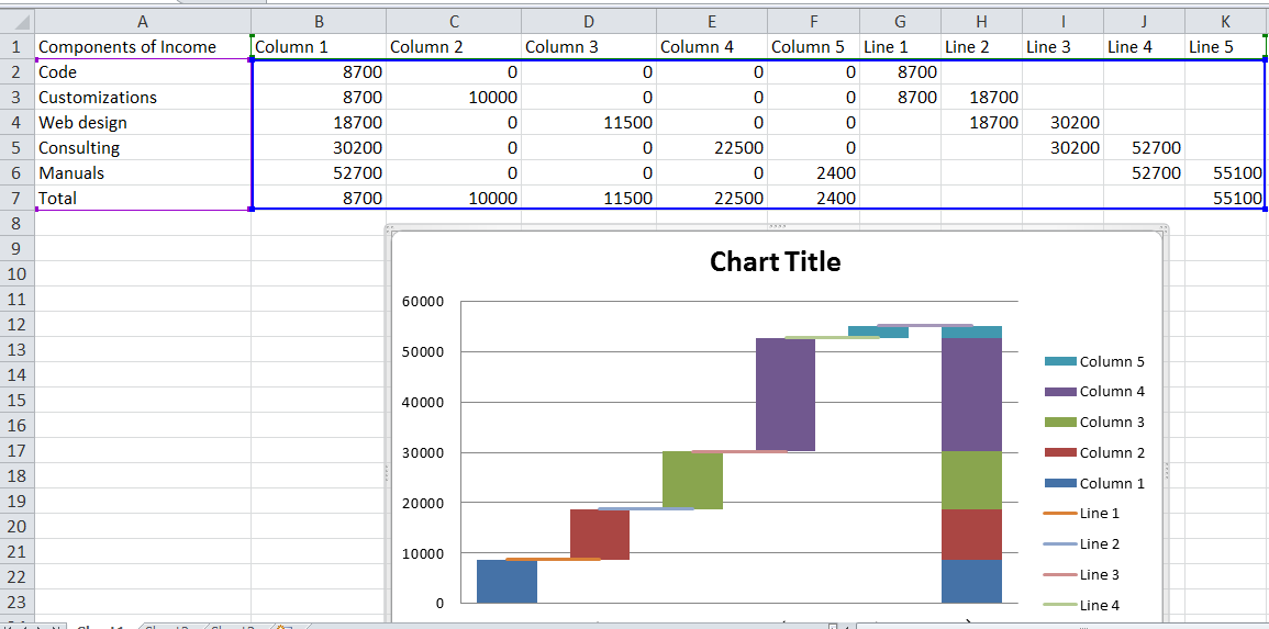 Waterfall chart in Excel pic 13