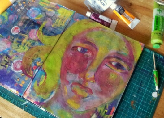 Whoopidooings: Carmen Wing: Letting Go of Perfect Art Journal page (In progress)