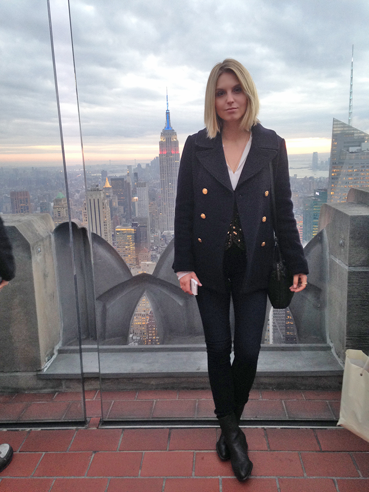 Fashion Over Reason on Top of the Rock, JCrew navy Majesty pea coat
