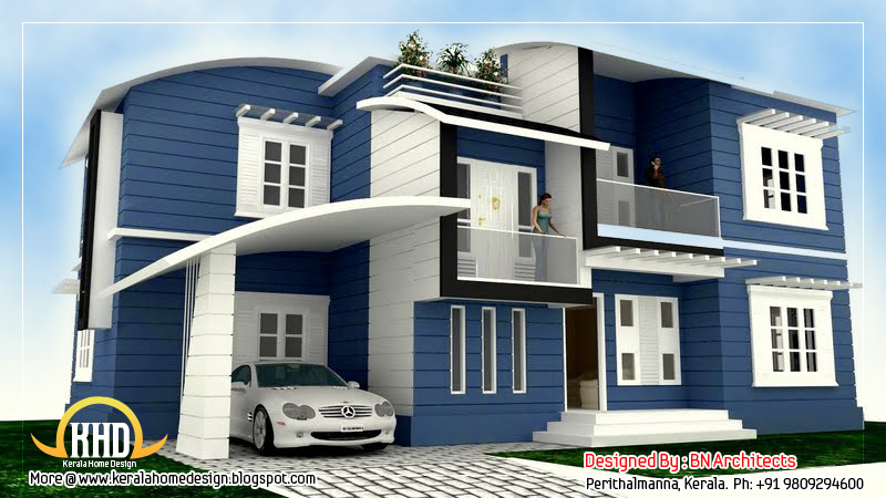 Kerala home design and floor plans 2 storey house design for Ground floor 3d elevation