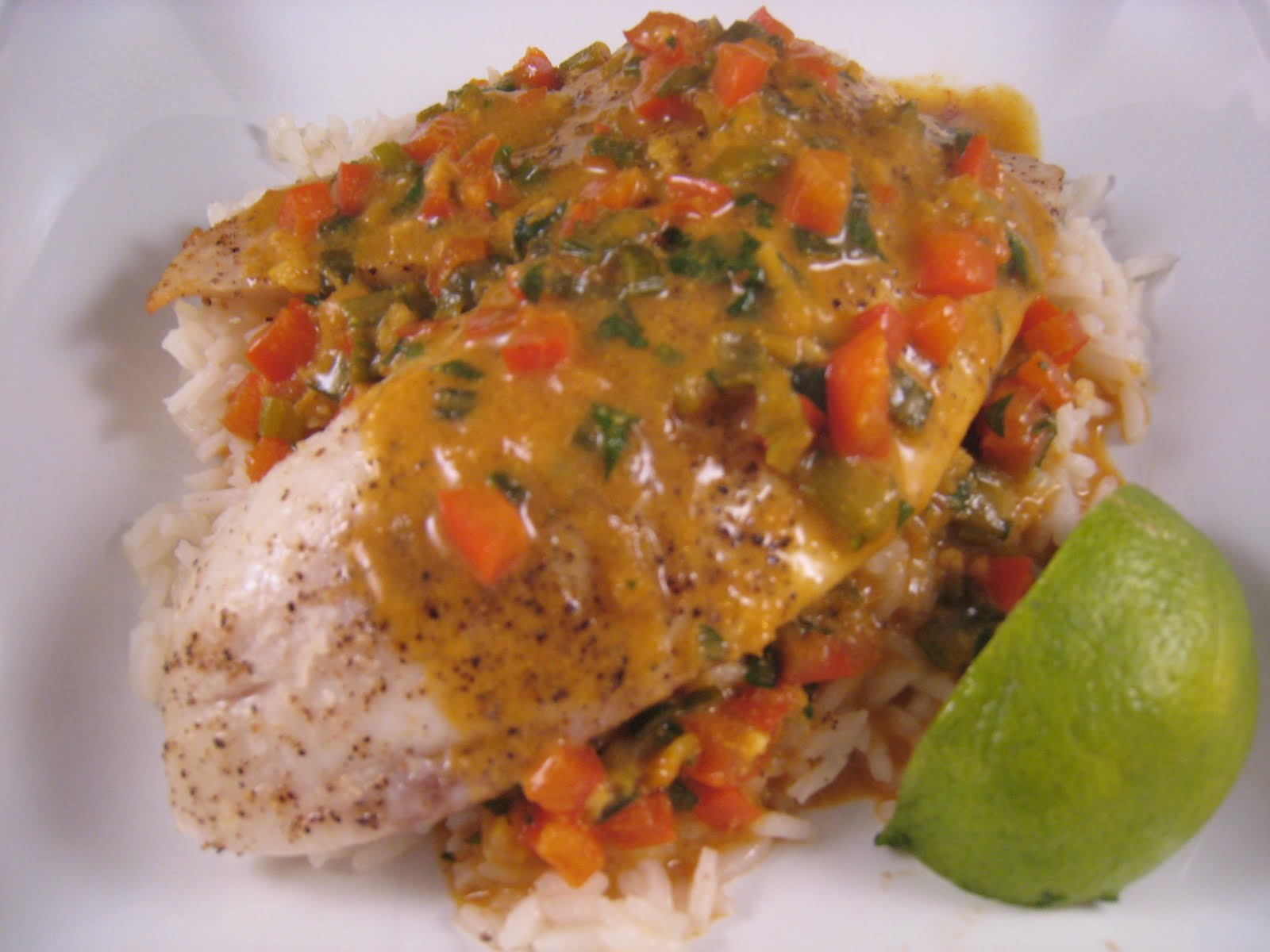 Chez Mona: Broiled Tilapia with Thai Coconut Curry Sauce