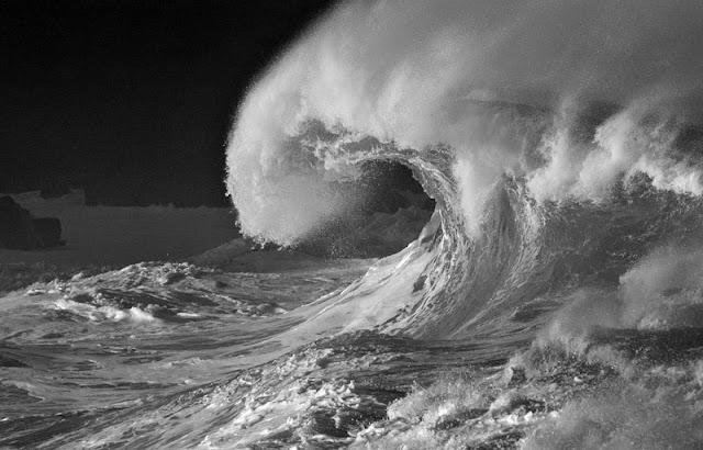 чёрно-белое фото волны