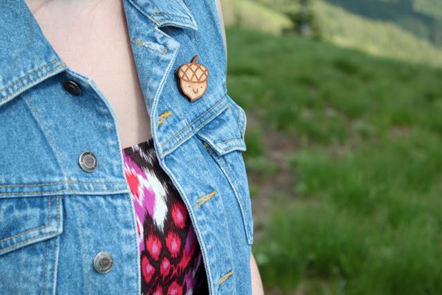 wood acorn pin