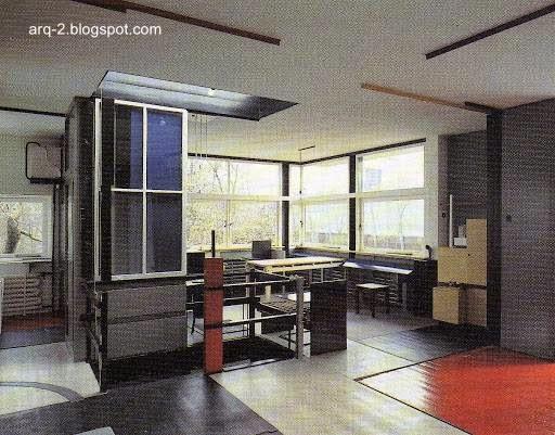 Vista interior en la planta alta de la Casa Schröder en Holanda