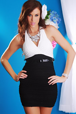 WHITE BLACK SEXY HALTER V NECK OPEN KNIT RUCHED BELTED MINI DRESS