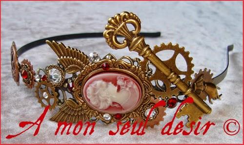 Serre-tête Steampunk Victorien Camée headband cameo headdress clockwork Millenium Milady Swarovski Rhinestones