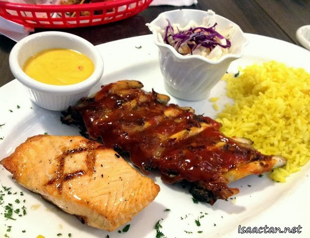 #3 Rib & Salmon with Rice and Coleslaw