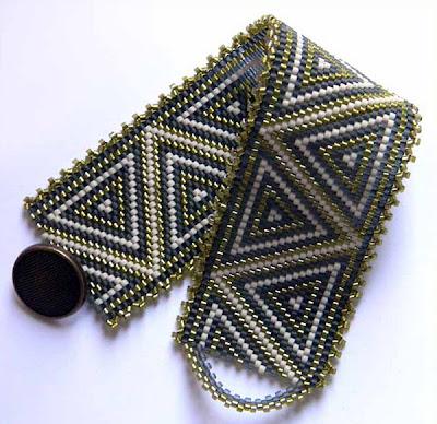 купить браслет из бисера, делика украшения ручной работы орнамент Anabel