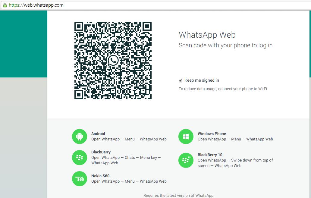 Captura de Pagina Web de WhatsApp