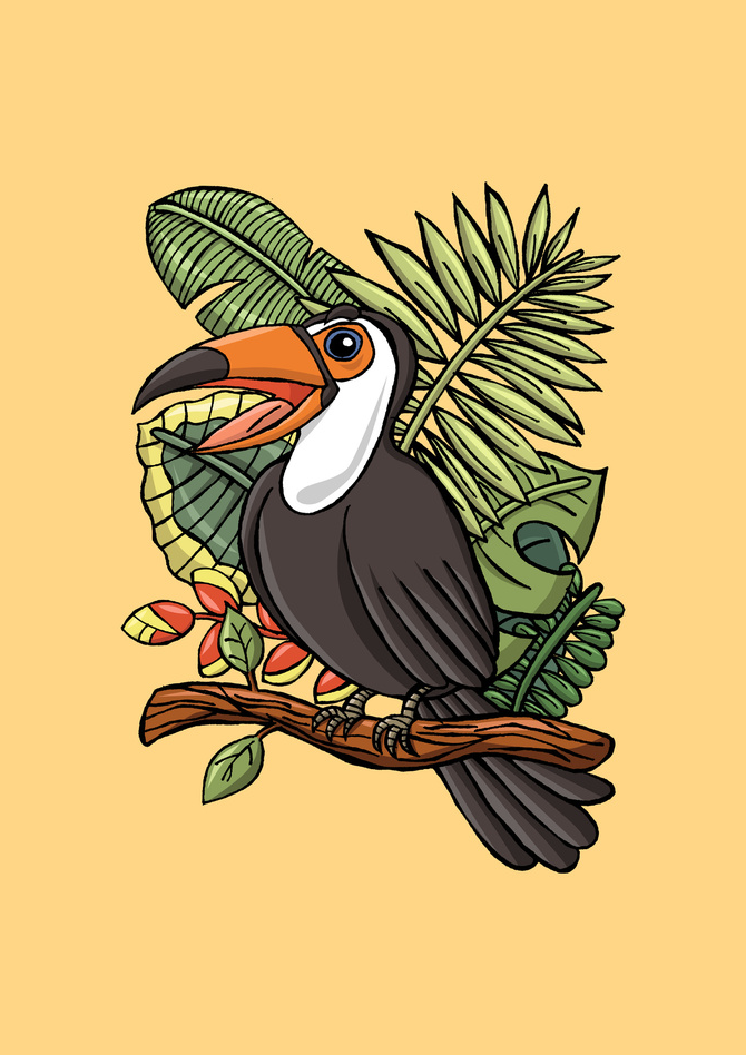 The Exotic Toucan Bird Illustration Printed on Merchandise Illustration by Haidi Shabrina