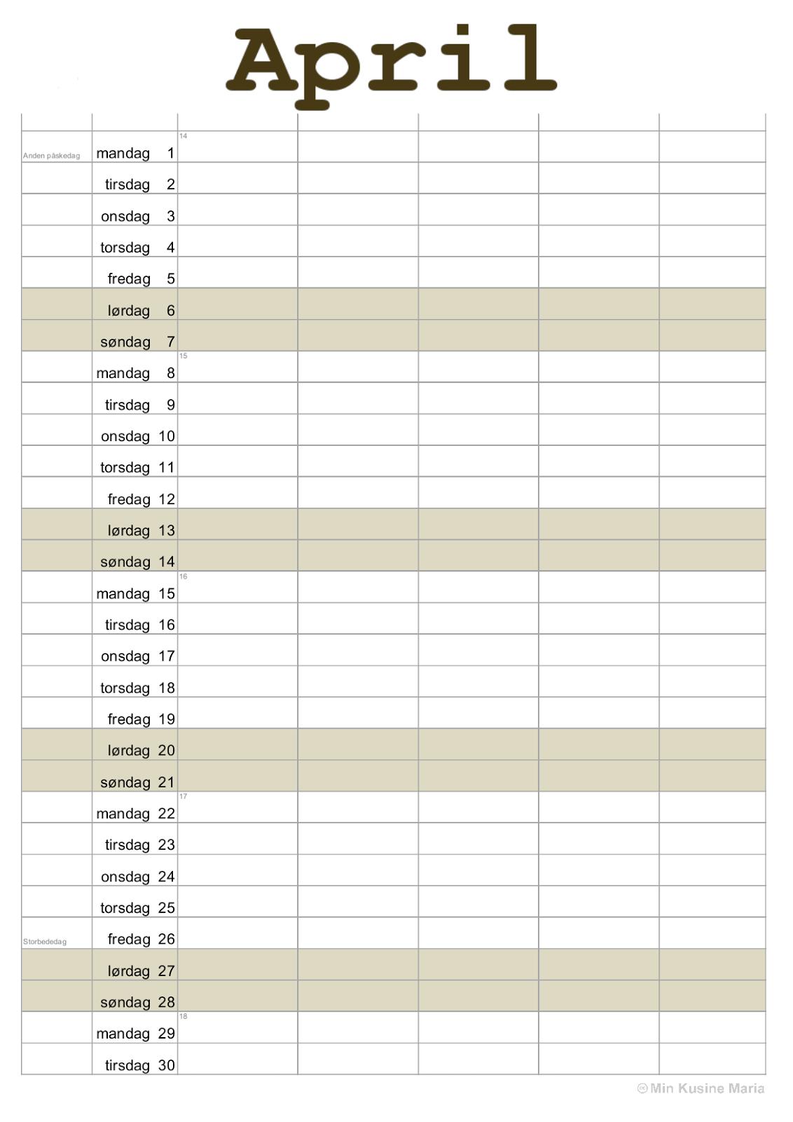 kalender lav selv gratis