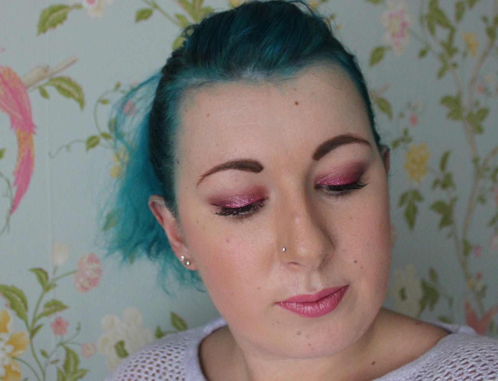 christmas pink sparkle beauty look