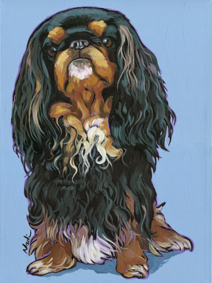 dog painting, King Charles Spaniel