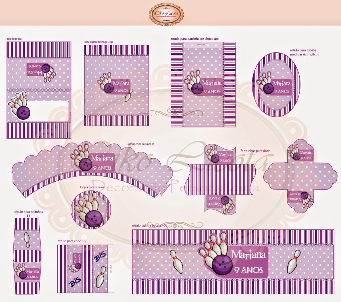 adesivos e tag tema boliche lilás personalizado