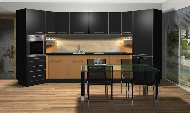 Diseño de cocina con columnas a 45º