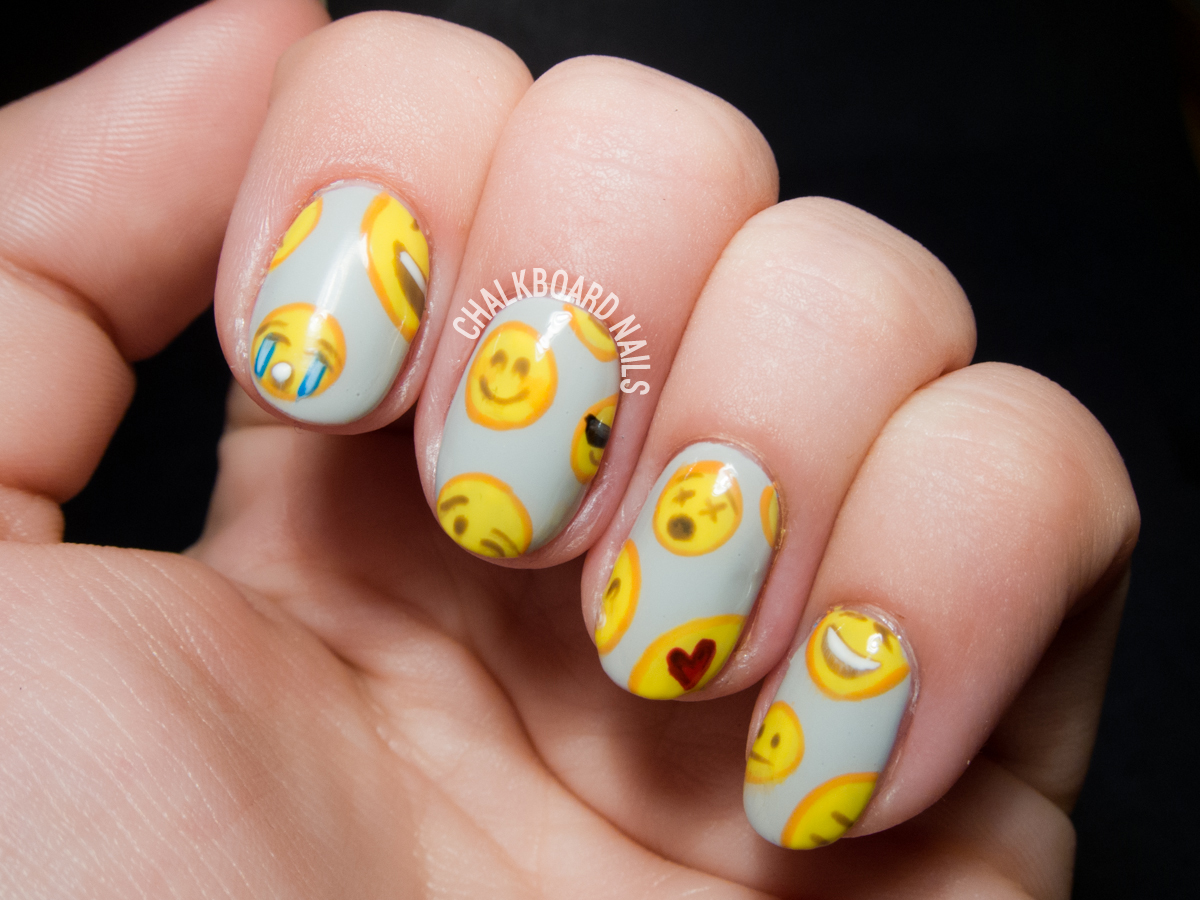 Emoji nail art by @chalkboardnails