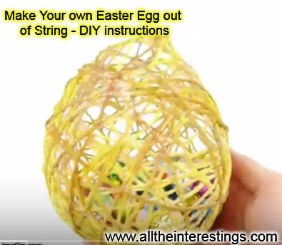 Really cool Easter Egg out of String, easter crafts ideas, candy balloon easter egg making instructions
