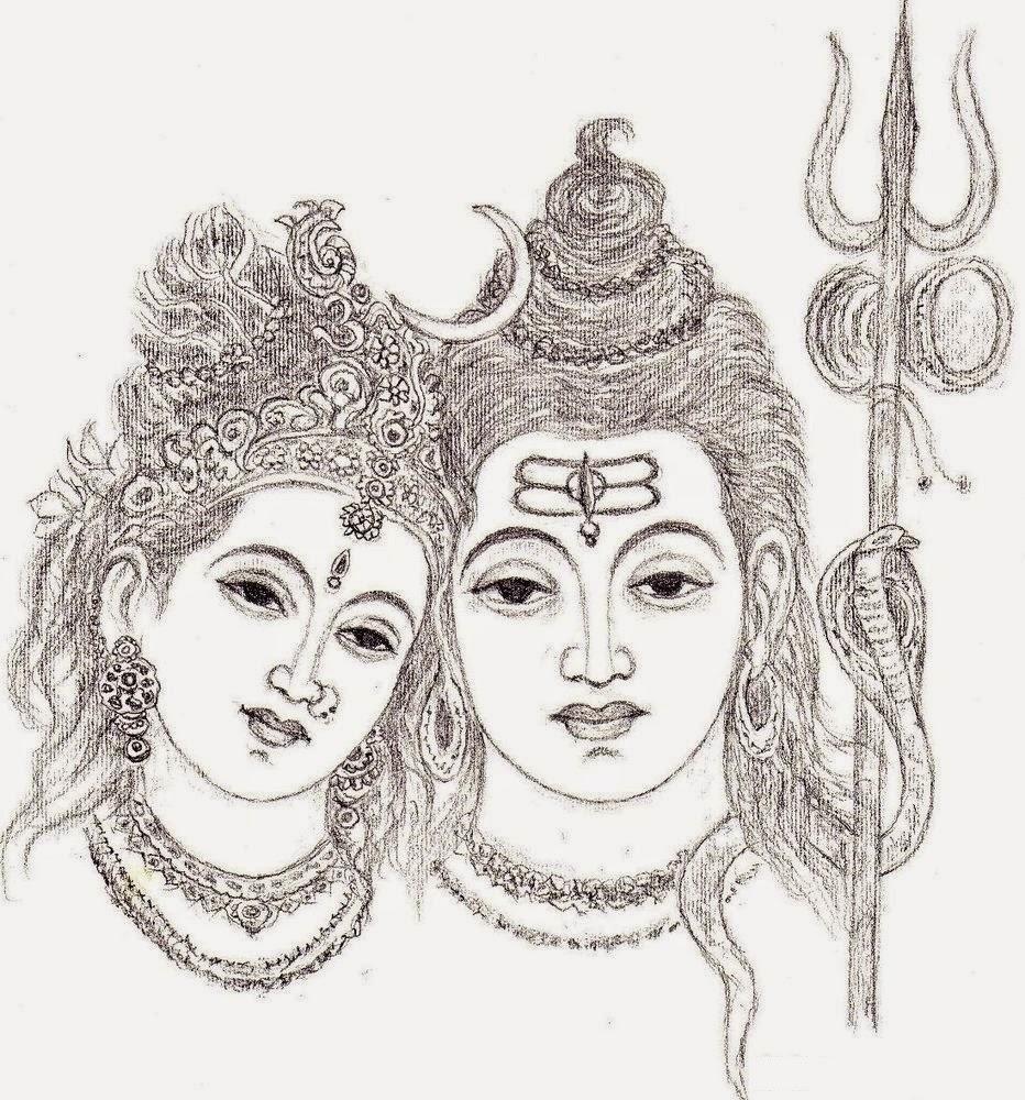 Pencil sketch of shivji parvati shiv parvati