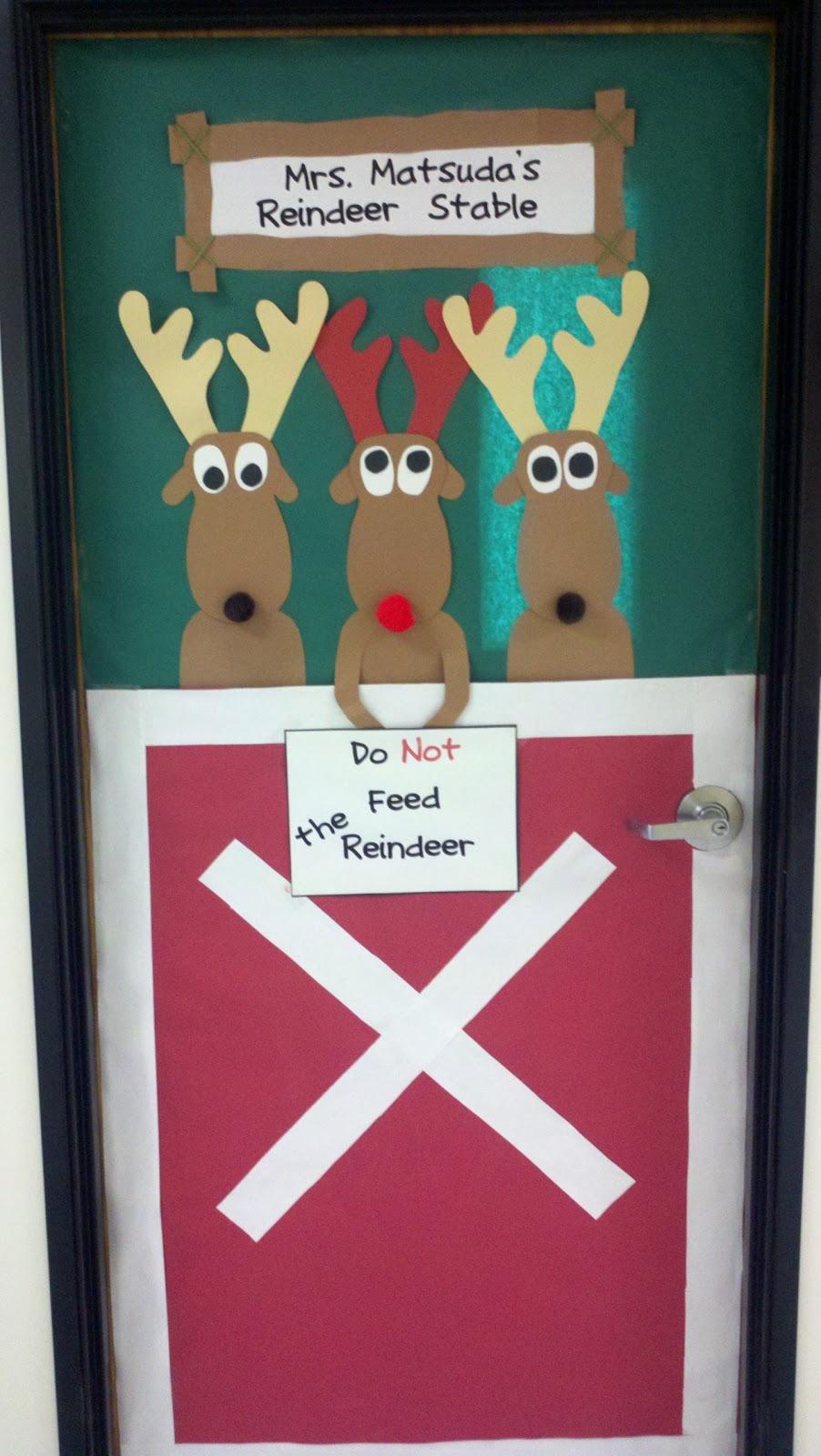 Christmas Classroom Decorations Teachers ~ Reindeer on classroom doors just b use