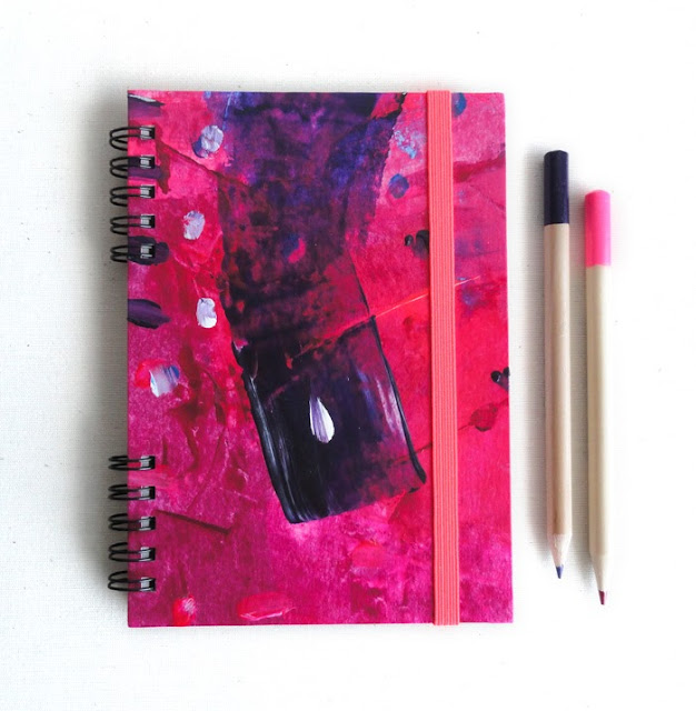 Pink notebook A6. Handbound notebook. Handpainted notebook. Pink Stationery