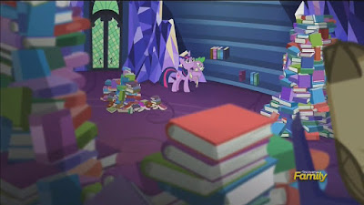 Twilight and Spike prepare to reshelve the library