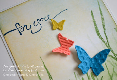 Sentiment using A Word For You by Stampin' Up and Beautiful Wings embosslits
