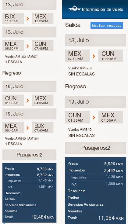 Riviera Maya, vuelo a Cancún