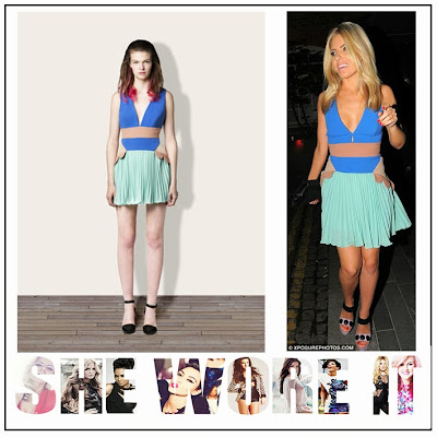 The Saturday, Mollie King, Three Floor, Pale Aqua Green, Bright Blue,  Tan, Mini Dress, Deep V-Neck, Pleated Skirt, Pleat Detail,