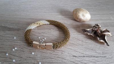 Bead Crochet bracelet gold-silver