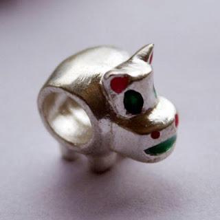 Silver Enamel Hippopotamus Beads