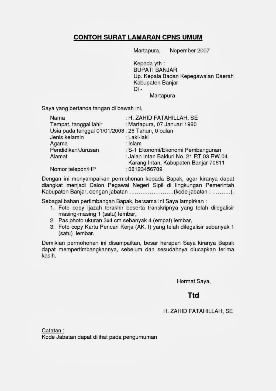 Contoh Surat Lamaran Kerja CPNS Resmi Terbaru - Contoh ...