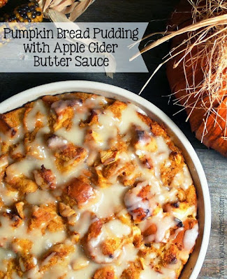 Pumpkin Bread Pudding with Apple Cider Butter Sauce