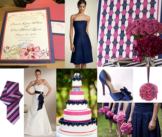 Navy and pink wedding