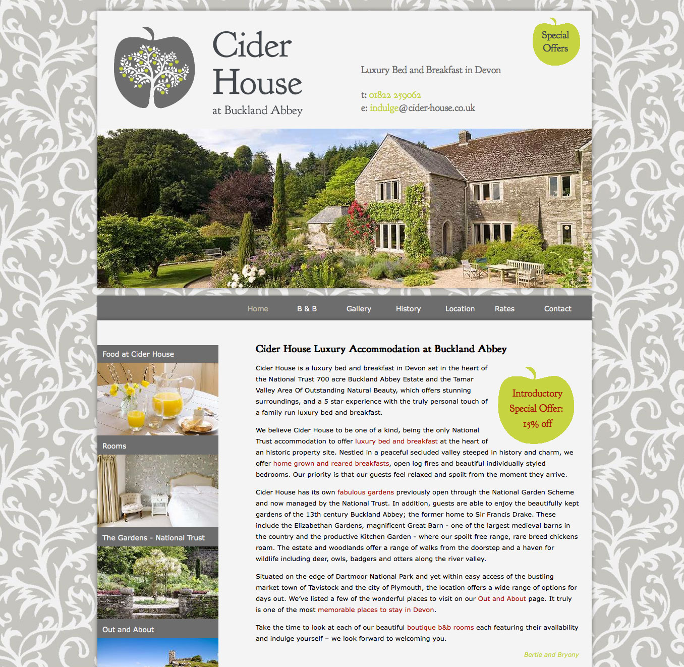 Website design for Cider House Bed & Brekfast
