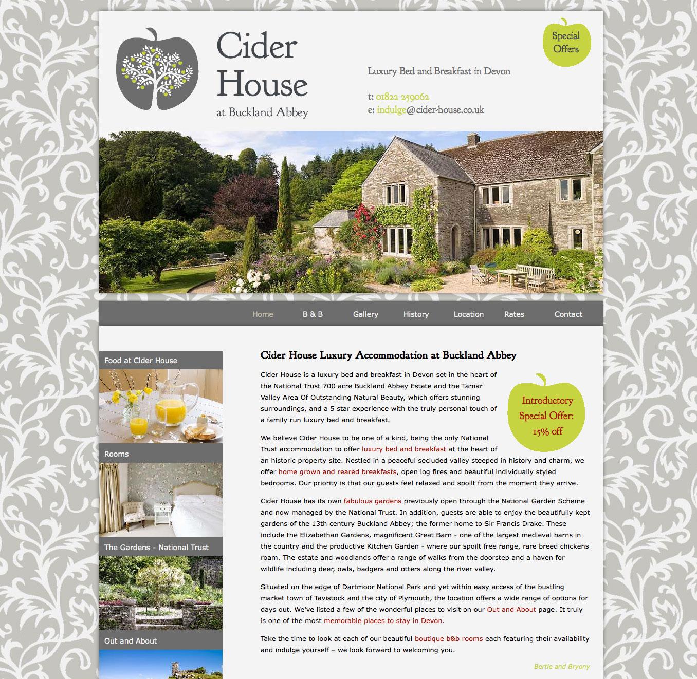 Website design for Cider House Bed & Brekfast