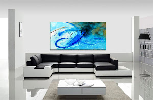 "Abstract Painting ""Blue Surf 2"" by Dora Woodrum"