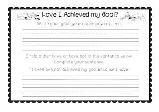 Super Powers Craftivity Learning Goals evaluation image