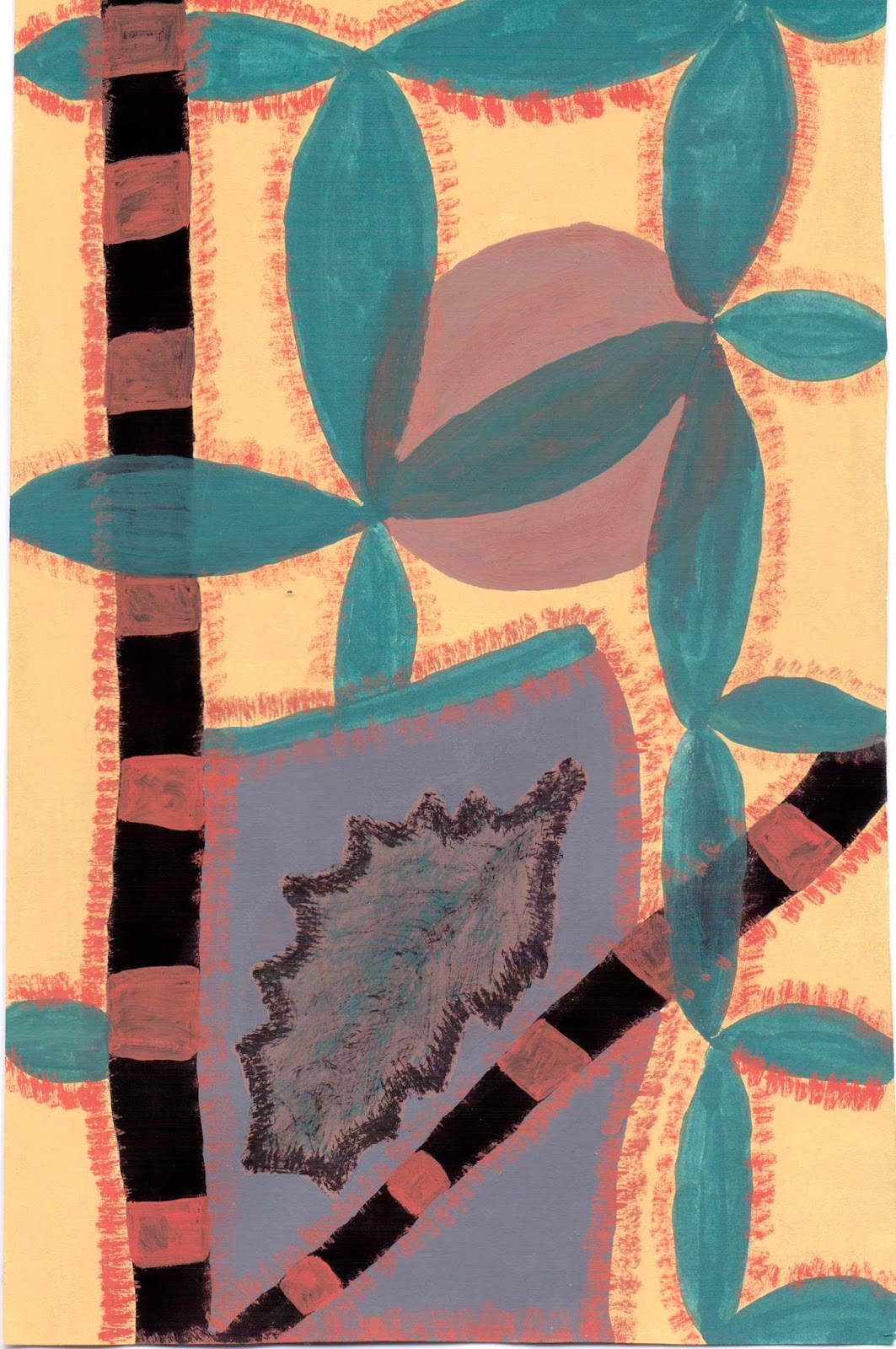 abstract acrylic canes and leaves