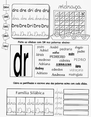 sílabas, Atividades com DR, anos iniciais, alfabetização, letras, ensino fundamental,atividades para imprimir, 1º ano