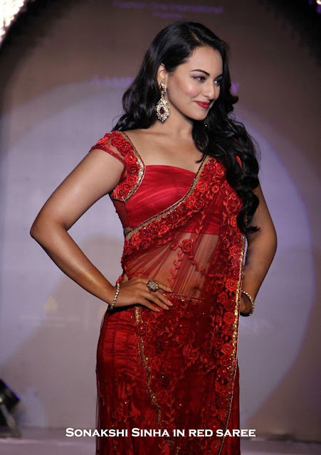 Sonakshi Sinha in red transparent saree