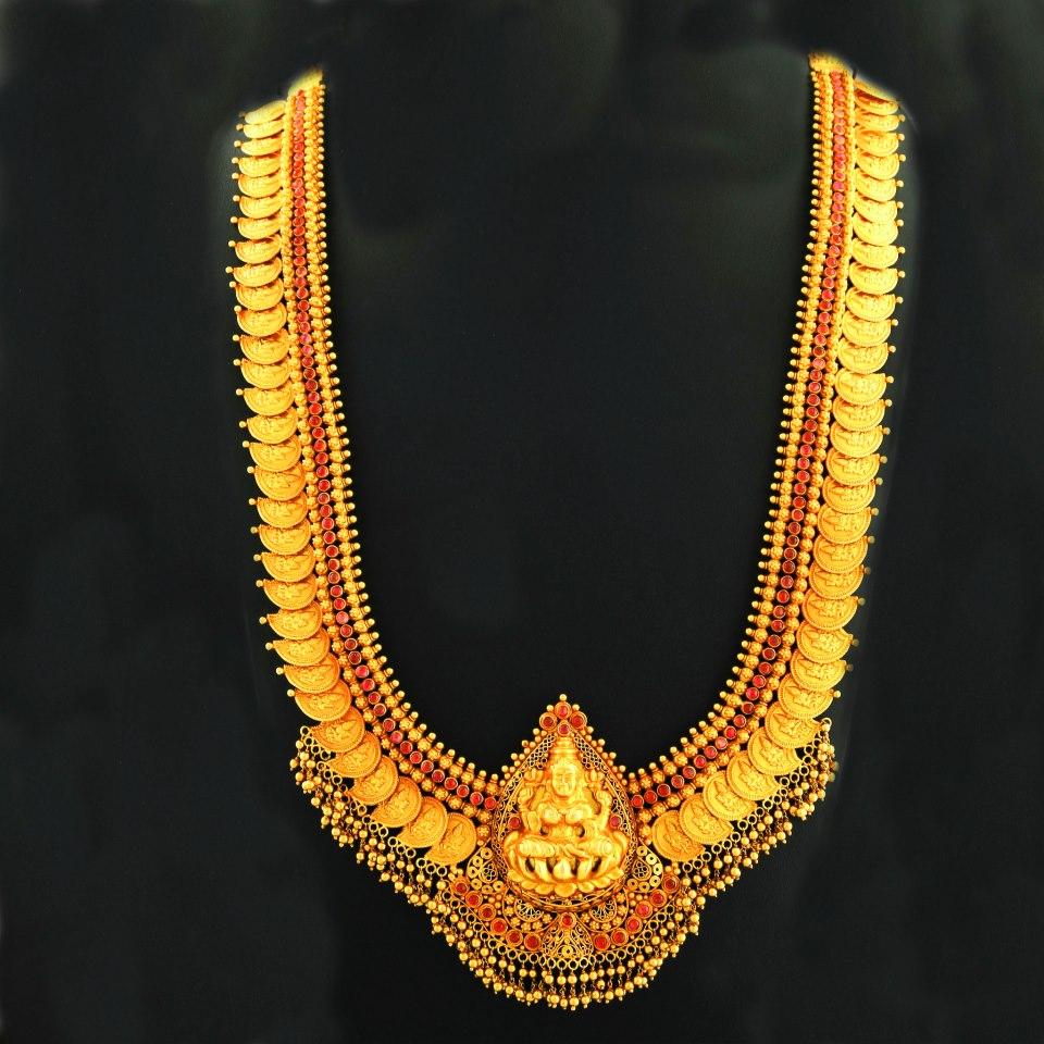Diamond necklace set by khazana jewellers latest jewellery designs - 1000 Images About Kasu Mala On Pinterest Jewellery
