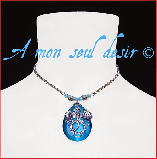 Collier médiéval fantasy Dragon bleu renaissance blue necklace Dragon d'Azur