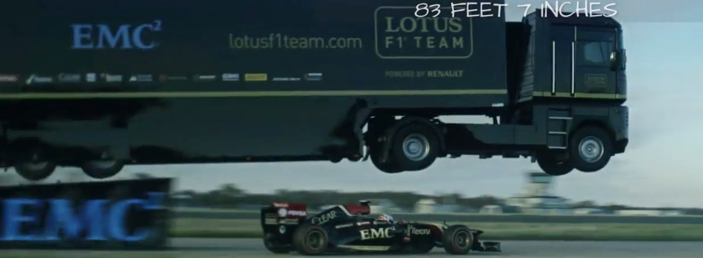 Truck Jump over F1 car