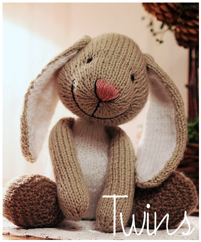 Knitted Toys: Big Foot, knitted Rabbit