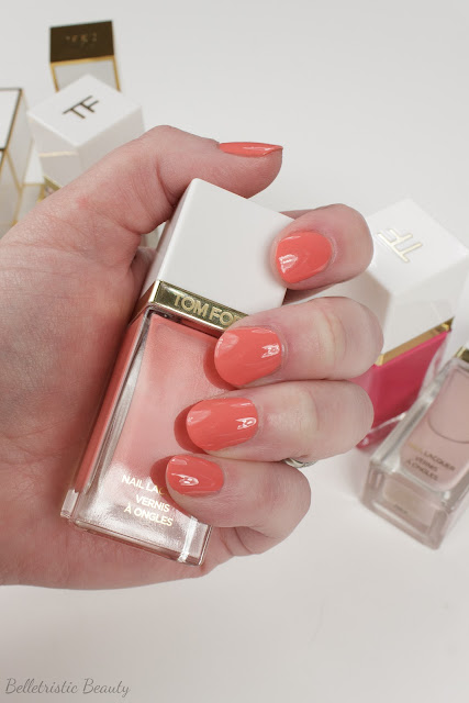 Tom Ford 03 3 Coral Beach Nail Polish Lacquer swatch, Spring 2014 Collection in studio lighting